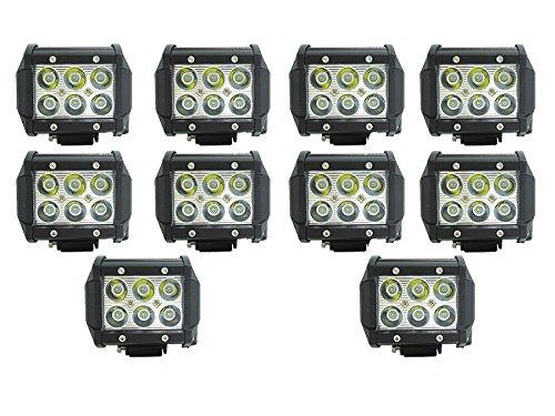 10 X FARO LAMPADA SUPPLEMENTARE PROFONDITA AUTO FUORISTRADA 12V 6 LED 18W 6000K IP68 (10) Rollinger