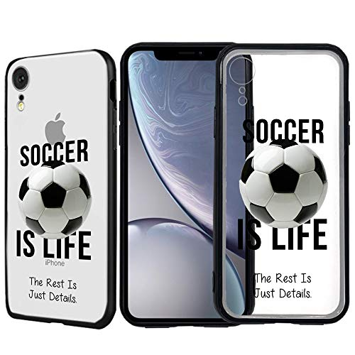 [Inkmodo] Clear TPU Case for iPhone XR - Soccer is Life Soccer Quote Girls Teens Printed Unique Design Pattern Cover