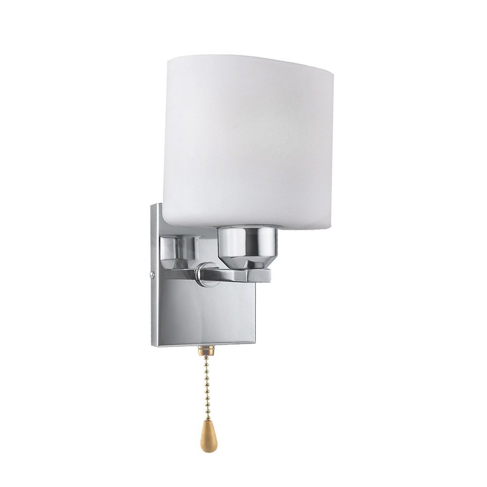 Vanyda Indoor LED Wall Lighting Fixtures Chrome /& Glass Sconce Lamp Lights for Living Room Kitchen Bedroom Bedside Hallway with Pull Switch Bulb Included White