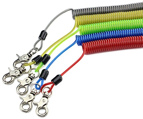 Booms Fishing T2 Fishing Tool Lanyard, Heavy Duty Coiled Lanyard,79 inch Max, Yellow Blue Green Red and Black