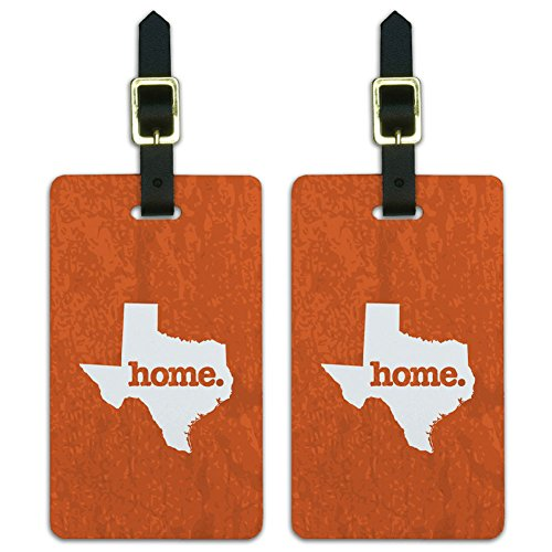 (Texas TX Home State Luggage Suitcase ID Tags Set of 2 - Textured Orange)
