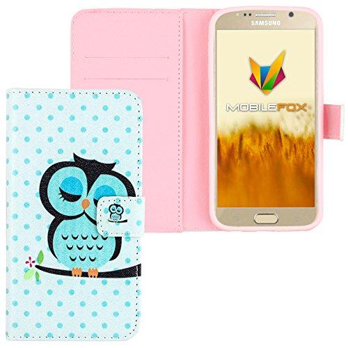 Mobilefox Eule Flip Case Handytasche Samsung Galaxy S6