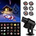 ACRATO LED Light Projector DIY LED Landscape Lighting Holiday Lights IP65 Waterproof 6+24pcs Replaceable 360° Rotating Non-fading Gobo for Christmas Halloween Wedding Bar Hotel Wall Decor