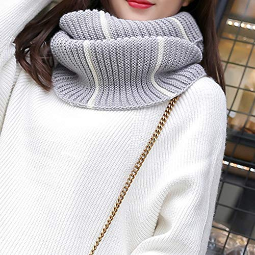 Lovers Winter Striped Circle Loop Scarf Warm Knit Cowl Neck Scarf Shawl Infinity Scarf (Gray)
