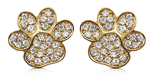 (Paw Print Stud Earrings Jewelry Gift - Puppy Dog Paw Print Dog Mom Rescue Foster Mom Earrings - Animal Lover Gift Ideas for Women, Teens, Girls (Gold))