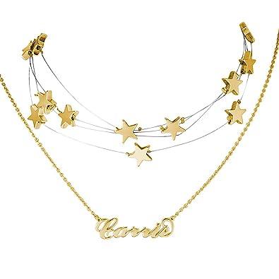 a8fd5c5420f9 SOUFEEL Collar Plata Colgante con Nombre Personalizados Joya para Mujer  Regalo Personalizado para Familia Novia Cumpleaño Cadena Más Extención   Amazon.es  ...