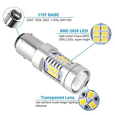 YITAMOTOR 1157 LED Bulb White for Reverse Light, BAY15D 2357 2057 7528 LED Replacement Brake Tail Light Bulb for Vehicle Motorcycle Trailer Tractor Camper RV, 12V-24V, 2-Pack: Automotive