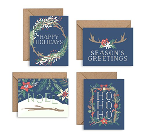 Set of 12 Christmas Cards - Navy Floral Holiday Pack - NEW FOR 2016! (12 Christmas Cards + Envelopes) - 4 Unique Designs - By Palmer Street Press