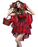 AiFang Women's Halloween Costume Sexy Red Riding Hood Gothic Costume Cosplay Adult