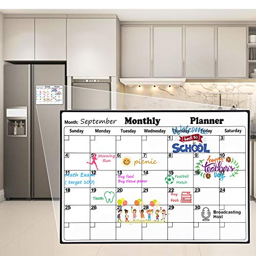 Homein Magnetic Calendar for Refrigerator Stain Resistant Surface Dry Erase Calendar 2019-2020 Monthly Calendar Whiteboard Fridge Calendar Family Planner Refrigerator Magnet Calendar for Kids (Best Fridge For Large Family)