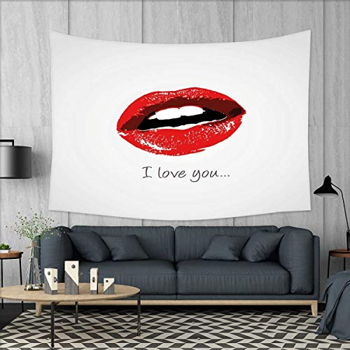ou Tapestry Wall Hanging 3D Printing Seductive Female Lips Ajar Desire Red-Hot Lipstick Retro Valentines Style Beach Throw Blanket 60