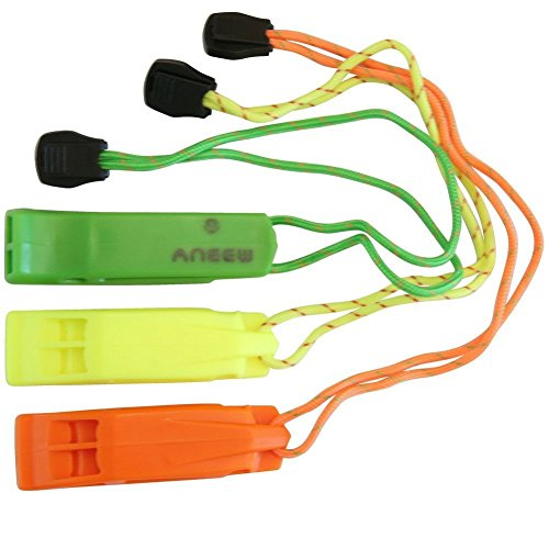 Safety Whistle Double Tube Loud All Weather for Outdoor Hiking Camping Climbing Boating with Lanyard by Aneew, Emergency Survival Use