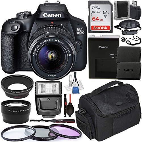 Canon EOS 4000D DSLR Camera with EF-S 18-55mm f/3.5-5.6 III Lens with Deluxe Accessory Bundle – Includes: Extended Life LPE10 Spare Battery, Digital Slave Flash, Carrying Case & Much More