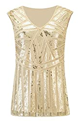 Metme Vintage 1920s V Neck Slight Loose Flashy Beaded Sequin Vest Tops Tank Tops For Women