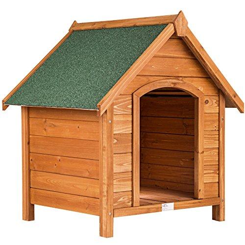 TecTake Caseta XXL de madera maciza para perro tejado verde 72x65x83cm