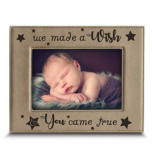 BELLA BUSTA- We Made a Wish & You Came True- Baby Picture Frame Baby Gift Engraved Leather Picture Frame (5 x 7 Horizontal)