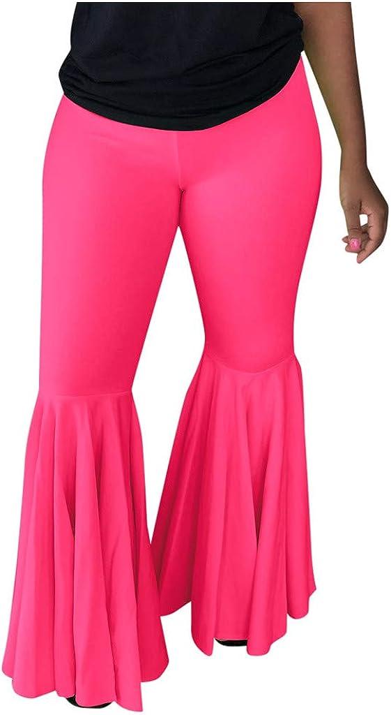Fanteecy Womens Mermaid Ruffle Flare Pants Solid Bell Bottom Pants High Waisted Flare Palazzo Wide Leg Pants