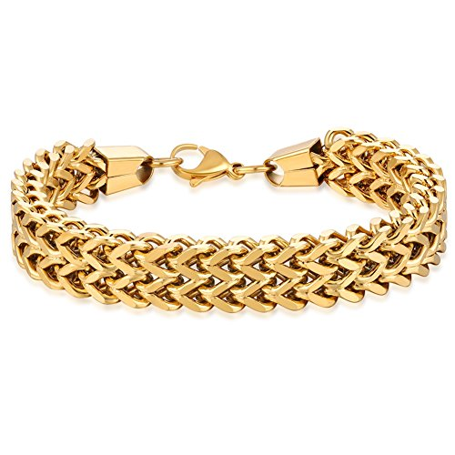 (WIBERN 12MM Wide Gold Tone Double Strand Curb Chain Link Bracelet for Men Women Stainless Steel Link, 8.0-8.6'' (Gold, 8.6))