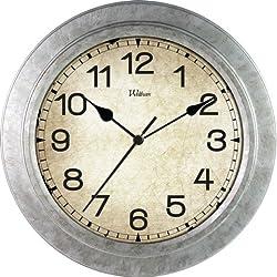 Ashton Sutton Round Quartz Analog Wall Clock, 12-Inch, Galvanized Finish
