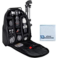Deluxe Digital Camera / Video Padded Backpack For Nikon, Canon, Sony, Pentax DSLR Cameras, Nikon D5500, D810, D750, D3000, D3100, D3200, D3300, D5000, D5100, D5200, D7000, D7100, D7200, D600, D610, D700, D800, D90 DSLR and More SLR / DSLR Cameras + an eCostConnection Microfiber Cloth