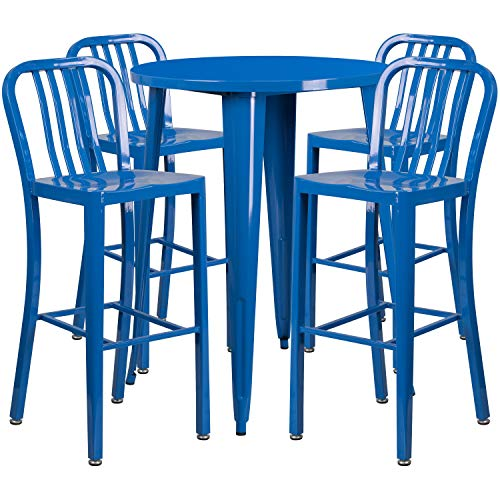 My Friendly Office MFO 30'' Round Blue Metal Indoor-Outdoor Bar Table Set with 4 Vertical Slat Back Stools