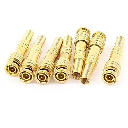 Amazon.com: eDealMax Tono cámara CCTV sin soldadura coaxial BNC Conector Macho DE 7 piezas de oro: Electronics