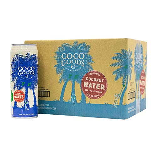 CocoGoods Co. Vietnam Single-Origin 100% Natural Coconut Water 17.5 fl oz (Pack of 12) (100% Coconut Water in Can)
