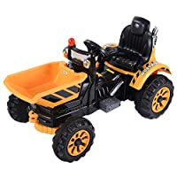 Yellow Kids Ride On Car 12V Tipper Dumper Truck With Dump Bucket Power Electric Toy