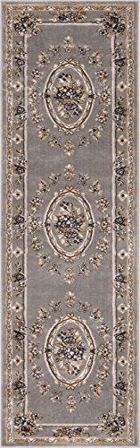 12x12 Bone (Well Woven 36382L Timeless Le Petit Palais Traditional Medallion Grey Rug 2'7