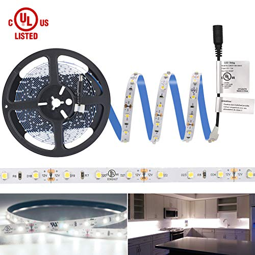- LED Light Strip, HitLights Neutral White Premium 3528-16.4 Feet, 300 LEDs, 4000K, 82 Lumens per Foot. UL-Listed. 12V DC Tape Light