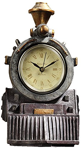 Design Toscano All All Aboard Locomotive Train Steampunk Decor Wall Clock, 9 Inch, Multicolored]()