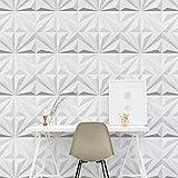 Art3dwallpanels 3D Wall Panels, Star Textured White