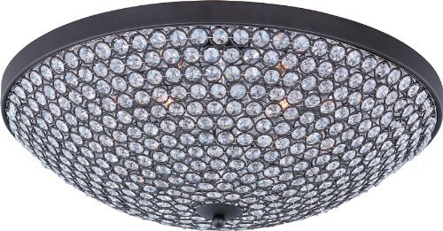 - Maxim 39872BCBZ Glimmer 6-Light Flush Mount, Bronze Finish, Beveled Crystal Glass, G9 Xenon Xenon Bulb, 100W Max, Damp Safety Rating, Standard Dimmable, Glass Shade Material, 1150 Rated Lumens