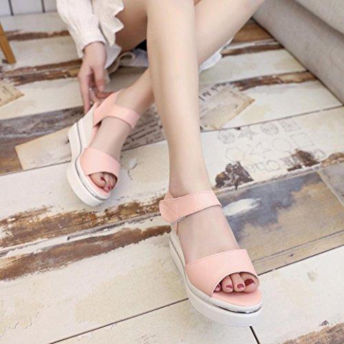 Vovotrade Tacón alto 8cm hebilla Correa Mujer Plataforma Tacones Altos Cuñas Recortes Sandalias Abiertas Toe Zapatos Impermeable Rosa