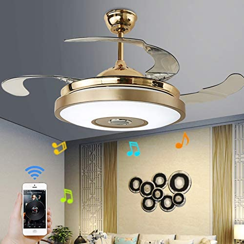 42 inch Ceiling Fan Light with Bluetooth Speaker and Remote Control, Modern 7-color Dimming Chandelier Mute Ceiling Fans with Lights fit for Bedroom Dining Living Room 42-In-B