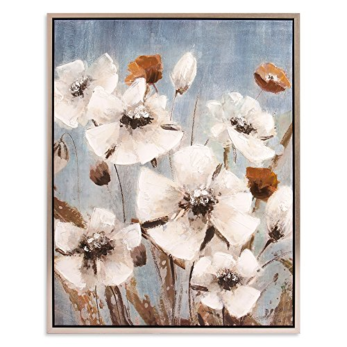 Patton Wall Decor White Poppy Field Floral silver wall decor