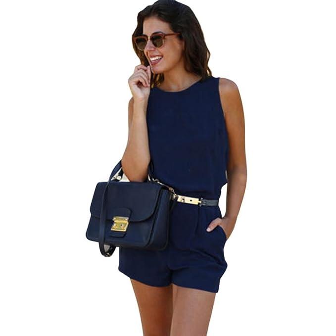 3a11bd7dfb8c Ansenesna Jumpsuit Damen Sommer Kurz Elegant Mini Playsuit Frauen Ärmellos  Rückenfrei Overall Für Party Strand Blau