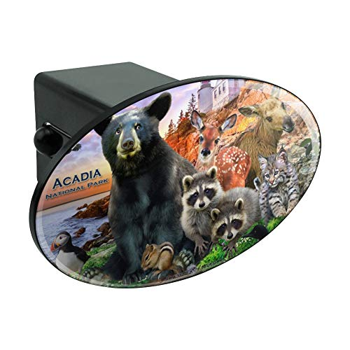Graphics and More Acadia National Park Maine ME Animals Bear Racoon Deer Moose Oval Tow Hitch Cover Trailer Plug Insert - National Me Park Acadia