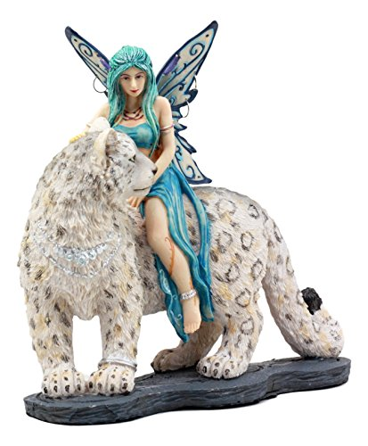 Ebros Large Blue Frost Fairy Riding Snow Leopard Statue Home Decor Mythical Fantasy (Frost Fairy Wings)