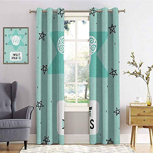 Sweet Dreams Blackout curtains - gasket insulation Lettering with Illustration in Scandinavian Style Mouse and Stars Blackout curtains for the living room W84 x L96 Inch Seafoam Black and White