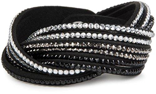 styleBREAKER weiches Strass Armband, eleganter Armschmuck mit Strassteinen, Wickelarmband, 6x1-Reihig, Damen 05040005, Farbe:Schwarz / Klar-Silber-Schwarz