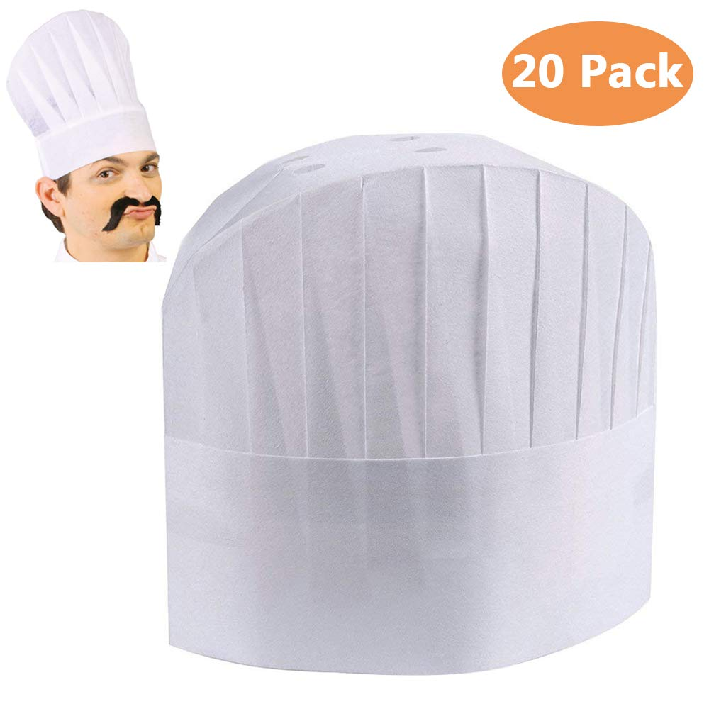 Nexxxi 20 Pack Disposable 9'' White Chef Toques, Chef Caps for Food Restaurants, Home Kitchen, School, Classes, Catering Equipment or Birthday Party