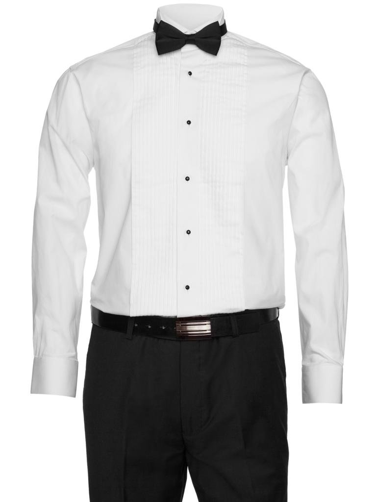 Gentlemens Collection Mens White Tuxedo Shirt 1/4 inch Pleats with Bow Tie White 15 32/33 by Gentlemens Collection