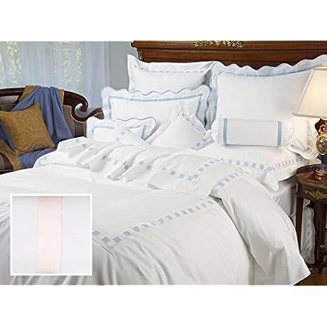 Prato Luxury Bedding Sheet Sets Twin 100 Egyptian Cotton Sateen 1 Flat 1 Fitted 1 Std Sham Light Pink