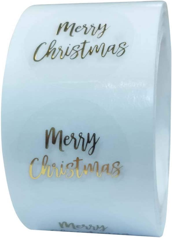 Haijun Pack of 500 Round Transparent Merry Christmas Stickers Envelope Gift Cards Seal Label