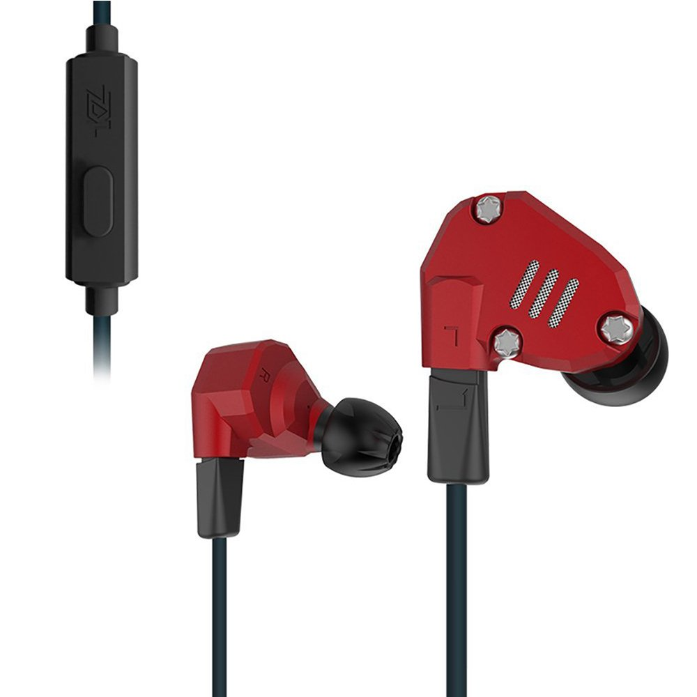 KZ ZS6 Quad Driver High Fidelity Extra Bass Hifi In Ear Earphone Detachable Cable (Red With Mic)