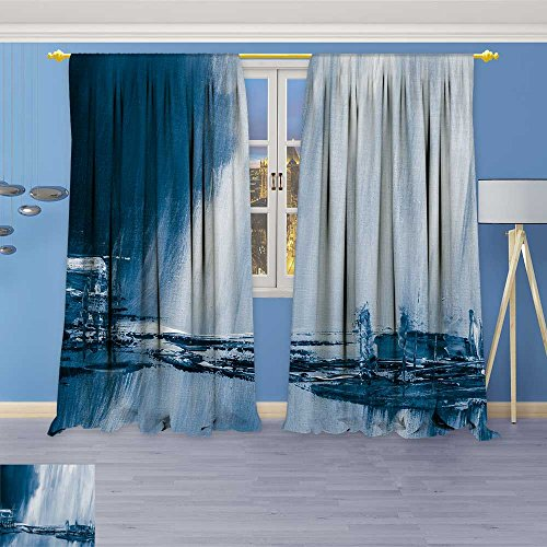 Croscill Shells (Room Darkening Blackout Print Curtains –blue painted background wallpaper texture for Bedroom Living Room,108