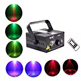 Stage Laser Lighting,Portable 3 Lens 40 Patterns RG Laser Projector Light Mixing 3W Blue LED Effect DJ Wedding Xmas Holiday Party Lights Remote Control Auto/Sound Activated (Z40RG)