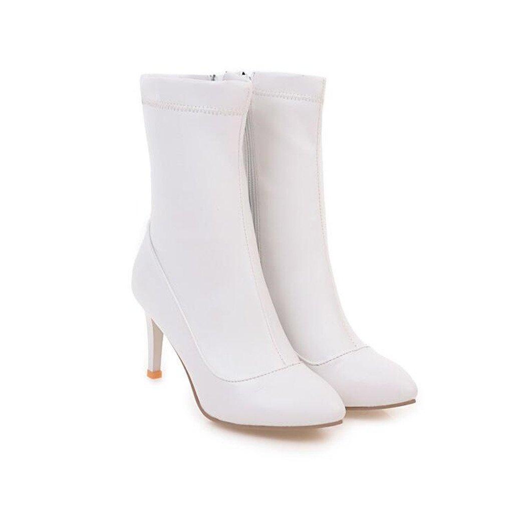 ZQ@QXSugerencia de la semana para la multa y los zapatos de tacón alto, elegante y versátil de corto y botas, un gran número de mujeres botas, blanco 36 36|White