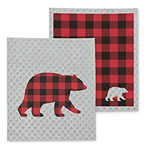 "Abbott Collection Dish Cloths 5"" x 8"" Grey/Red"